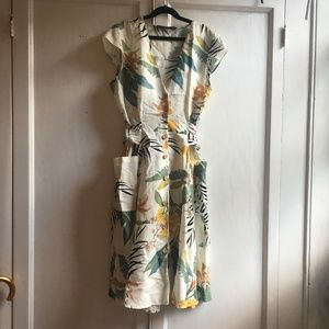 Zara Tropical Palm Belted Day Dress